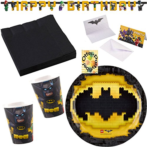 rtyset 45tlg. Teller Becher Servietten Einladung Girlande für 8 Kids (Lego Batman-dekorationen)