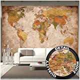 GREAT ART Foto Mural Vintage Mapa Mundial- Tapiz Decoración paises y continentes. Póster...