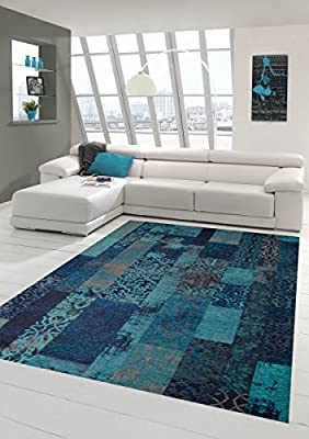 Contemporary rug Design rug Oriental rug Living room rug with check pattern in turquoise blue - inexpensive UK light shop.