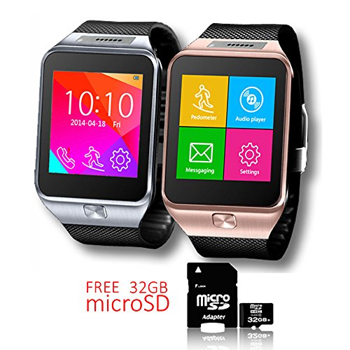 Indigi® Swap2Bluetooth Smart Watch SIM-Karten Slot GSM entsperrt.-GRATIS 32GB SD. (Freigeschaltet Tablet Für Sim Karte)