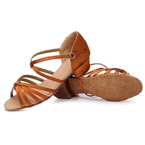 Eastlion Ballsaal Salsa Tango Schuhe Latin Dance Schuhe Tanz Sandalen für Frauen und Mädchen Praxis Braun