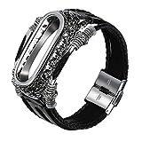 Webla Black Millet Rétro Bracelet Ceinture Cadre En Argent Remplacement Bracelet En Cuir Bracelet Sangle + Etui En Métal Pour Xiaomi Mi Band 3 (Noir)
