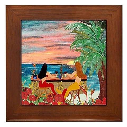 CafePress - Mermaid Tiki Sunset Wine Bar - Framed Tile, Decorative Tile Wall Hanging