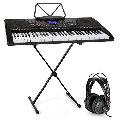 Schubert Etude 225 • USB Lern-Keyboard mit Notenständer + Kopfhörer + Keyboard-Ständer • 61 Leuchttasten • integrierte Stereolautsprecher • Aufnahme- & Playback-Funktion • 3 Lernmodi • lichtgesteuerten Tasten • 50 Demo-Songs • 32 Speicherplätze • schwarz
