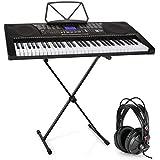 Schubert Etude 225 USB Teclado con auriculares de estudio y soporte • Piano de 61 teclas luminosas • Reproductor MIDI USB • 255 registros, 255 ritmos, 50 canciones demo • Inteligente función de aprendizaje