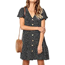 Ajpguot Verano Mujer Impresión Mini Vestidos de Playa Elegante Corto Dress de Partido Sundress V-