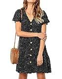 Ajpguot Verano Mujer Impresión Mini Vestidos de Playa Elegante Corto Dress de Partido Sundress V-Cuello Manga Corta Vestido con Boton (M, 101124 Negro)