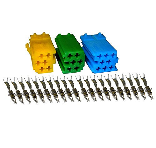 Autoradio MINI ISO-Stecker Adapter Komlett-SET Grün-Gelb-Blau u.a. für AUDI,OPEL & VW 0034W9