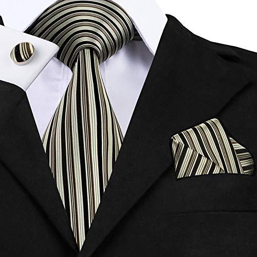 HYCZJH Schwarz Gestreifte Krawatte Manschettenknöpfe Sets MensSilk Ties für männer Formale Hochzeitsgesellschaft Bräutigam (Tie Silk Schwarz Floral)