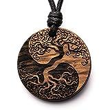treeforce Yin Yang Baum des Lebens Halskette, Schlüsselanhänger oder Auto- Anhänger 3in1 DIY Schmuck aus Kupfereiche