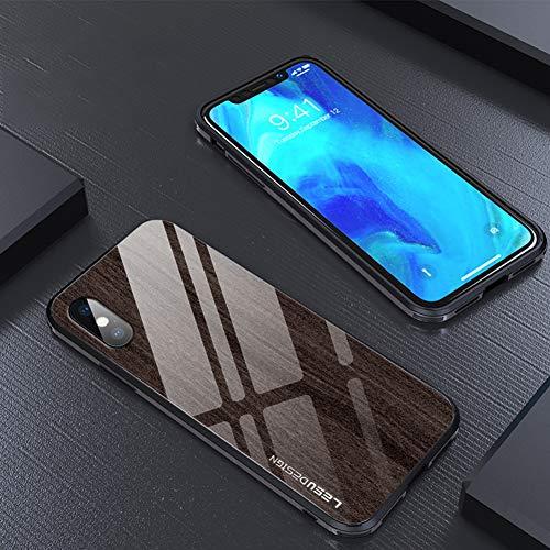 JINRU Kompatibel mit iPhone kreativem Holz-Handy-Gehäuse für 7P, 8P, XS, XR, XS MAX Anti-Tauschel-Glashülle Apple Silikon-Gehäuse,D,XR -