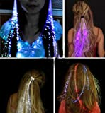 Set of 6 - LED Hair Extentions Clip Pony Tail LED Fiber Optic Light-up rainbow Hair Barrette Party