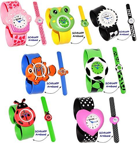 Armbanduhr / Kinderuhr - ' lustiger Marienkäfer / Glückskäfer ' - mit Silikon Schnapp Armband - Uhr für Kinder & Erwachsene / für Jungen & Mädchen - Tiere -...