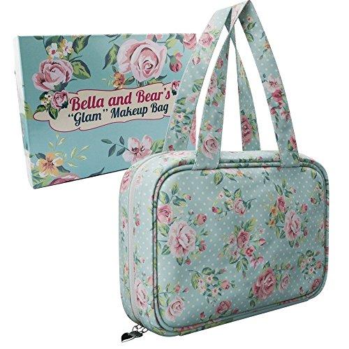 Make-up Tasche von Bella & Bear, mit 4klaren Reißverschlusstasche und einem praktischen Haken zum Aufhängen Tolle Weihnachtsgeschenkidee für Sie. (Bella Vier)