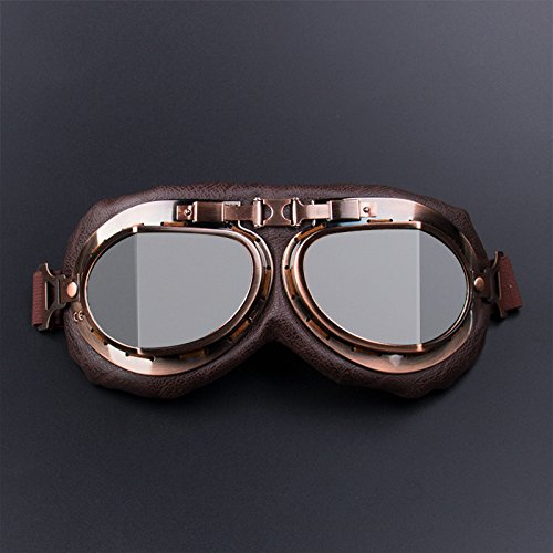 Leoie Motorcycle Goggles Glasses Vintage Motocross Retro Aviator Pilot Cruiser ATV UV Protection Goggles Silver
