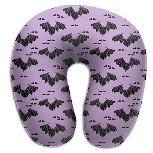 alloween Pastel Purple Lilac Bats Geo Geometric Tri Triangles by Memory Foam U Neck Pillow- for Lightweight Support In Airplane, Car, Train, Bus and Home ()