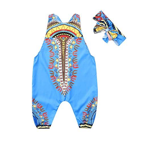 Janly_Top Kinder Kleiden,Janly Kleinkind Baby Mädchen Afrikanischer Druck Sleeveless Spielanzug Haarband Overall Kleidung (90, - Panda Kostüm Für Kleinkind
