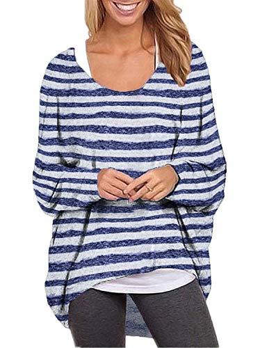 ZANZEA Damen Rundhals Langarmshirt Streifen Asymmetrisch Pullover Oversize Oberteil Tops 001-gestreiftes Hellblau XXX-Large