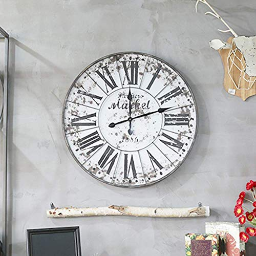GEZHU Clock Wandbehang Retro Home Living Room Bar Uhr Wanddekoration Wohnzimmer Kreative Schmiedeeisen Wanduhr 800 * 800 (mm) Eleganter Schöne und einzigartige Wanduhr