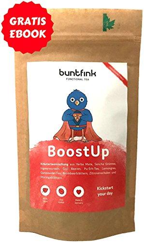 """""""BoostUp"""" Morgentee, max. Koffein (Teein), Alternative zu Kaffee, Tee aus 10 Powerpflanzen zB Mate + Goij + Moringa, 100% natürliche Kräuterteemischung, Diät + Detox ready - 60g, Made in Germany by Buntfink"""