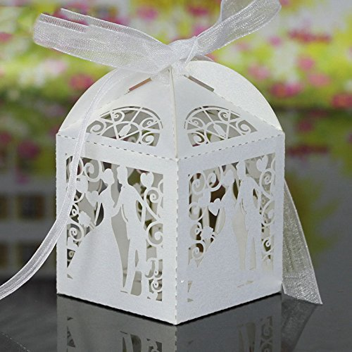 Wady 50 pack cross laser taglio caramella favor box christening baby shower party favors con nastri (bianco)