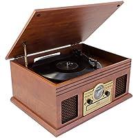 Karcher No de 036Nostalgie Estimada Center, Minicadena con Tocadiscos, Reproductor de CD, Bluetooth, casetes y Radio Madera