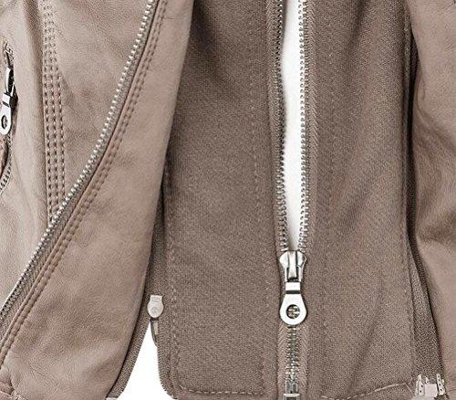 Ghope Damen Herbst Winter Übergangsjacke PU Leder Jacke Frauen Kurz Biker Motorrad Einfarbig Kapuzenmäntel Beige