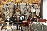 """3D Elefante Scultura C1459 Affari Parete Carta Stampare Decalcomania Deco Interno Adesivo Murale Autoadesiva Carta da Parati IT Zoe (Vinile (senza colla e rimovibile), 【205""""x114""""】520x290cm(WxH))"""