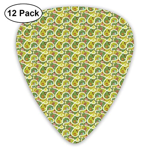 Celluloid Guitar Picks - 12 Pack,Abstract Art Colorful Designs,Aerial View Of Cute Town With Pet Friendly Houses Cats Dogs Birds Map Puppy Chart,For Bass Electric & Acoustic Guitars. (Rock Guitar House Metal)