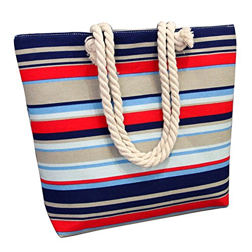Anne, Borsa a spalla donna nero Blue Flower Blue gray red stripes