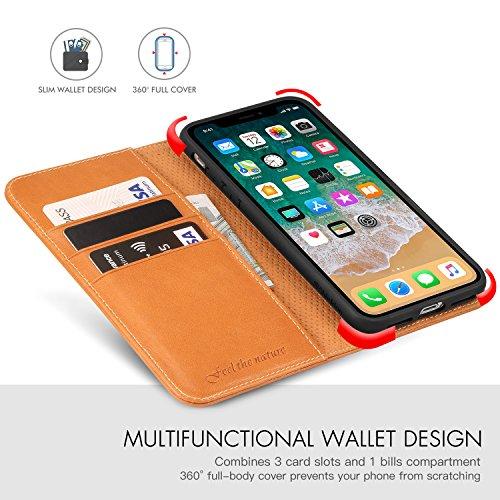 iPhone X Hülle, Echtleder case für iPhone X/10 (5.8 Zoll), Schutzhülle im Buch-Stil mit [eingebetteten Mappe ] [weiche TPU-Innenschale] [Kartenfächern] und [Standfunktion], Braun Braun