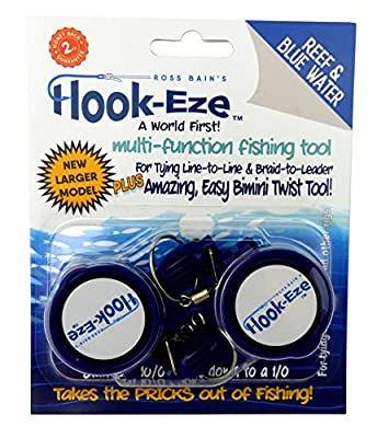 Hook-Eze 2 x NEW Larger Model Reef & Blue Water Safe Fishing Hook Cover & Knot Tying Tool by Hook-Eze