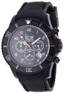 ICE-Watch - Montre Mixte - Quartz Analogique - Ice-Chrono Matte - Black - Big - Cadran Noir - Bracelet Silicone Noir - CHM.BK.B.S.12