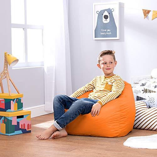 Bean Bag Bazaar Kinder Sitzsack - Sitzsack Sessel für Kinder - Innen Außen (Wasserabweisend) (Orange, Mittel)