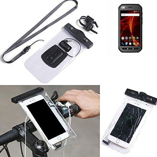 K-S-Trade® Fahrrad Halterung Für -Caterpillar Cat S41 Dual-SIM- Handy Halter Lenkstange Fahrradhalter Fahrradhalterung Regensicher Wasserdicht Anschluss Für Kopföhrer Transparent
