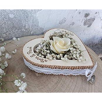 Hochzeit Ringkissen Ringhalter Herz Rose Loveliness creme für Eheringe mit Namen