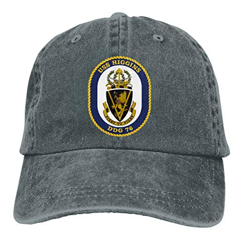 Nicegift USS_Higgins_DDG-76 Denim Baseball Cap Men Women Golf Hats Adjustable Plain Cap Deep Heather