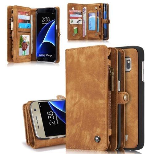 Flip Case Handy-Hülle zu Samsung Galaxy S7 Edge / SM-G935 - WALLET BOOK EINFARBIG SPALT-LEDER - Handy-Tasche, Schutz-Hülle, Cover, Handyhülle, Bookstyle, Booklet, Geldbörse, Geldbeutel, Farbe:Hellbraun (Book-tasche-geldbörse)
