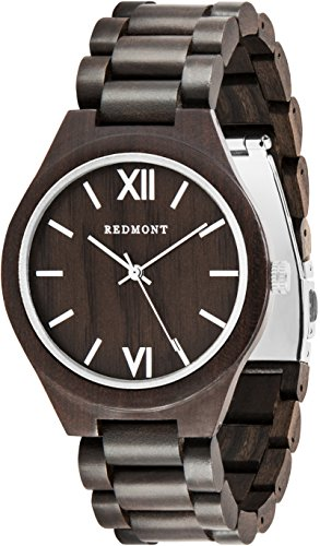 REDMONT Herrenuhr mit Holzarmband Analog Quarz Classic Collection Silver Edition