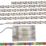 2 x LED Lichtband 60 LED´s Stripe Licht Band Lichterkette Batteriebetrieben deko (bunt (RGB))