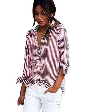 FEITONG Blusa de rayas rojas de las mujeres Camisetas de manga larga Camisetas de manga larga