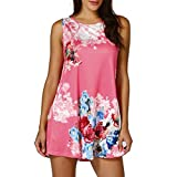Kanpola Womens Casual Floral Printed Sleeveless Vest Shirt Ladies Tank Top Blouse Tunic Tops Summer Beachwear T-Shirt