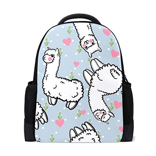 8cecbcbf295e Naanle Cute Cartoon Alpaka Llama Und Rosa Herz Wiese Floral Polka Dot Auf  Blauem Rucksack Schultasche Reise Wandern Camping Daypack Für Jungen Teen  ...