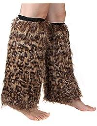 ECOSCO pierna calentador de la mujer leopardo piel sintética de Cozy puños de arranque calentador de pierna cubierta