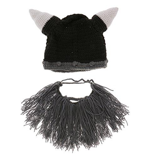 Gazechimp Kinder herren Mütze Wikinger Häkeln Horn Hut Strickmütze Bartmütze - Farbe2, Erwachsene