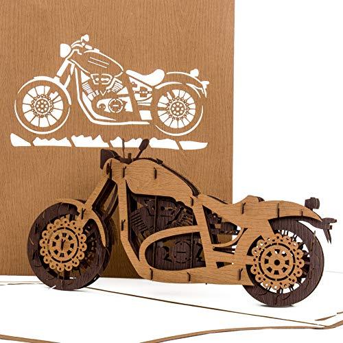 """Pop Up Karte\""""Motorrad - Harley Davidson\"""" - 3D Card Motorbike - Einladung, Geburtstagskarte & Gutschein zu Führerschein, Motorrad Ausflug - Motorradkarte"""