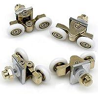 Rodillos para mampara de ducha, 25 mm, dobles, aleación de zinc, ruedas para puerta de ducha, 4 piezas