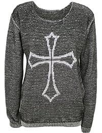 (womens gothic cross knitted jumper)(mtc) femmes croix gothique tricoté cavalier