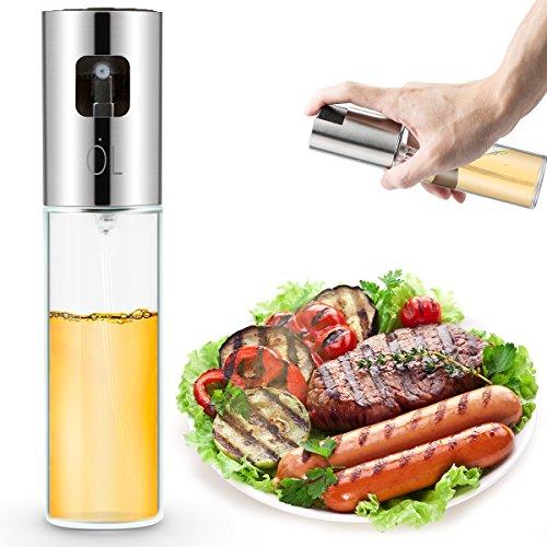 EXTSUD Öl Sprühflasche Öl Essig Sprayer Ölspender Olivenöl Glasflasche 100ml Küche Werkzeug für Barbecue, Kochen und Salat