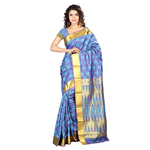 Varkala Silk Sarees Women's Art Silk Kanchipuram Saree With Blouse Piece(JP8109ADV_Turquoise Blue_Free Size)